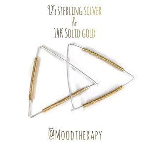 Triangle Wire Wrapped Hoop Earrings
